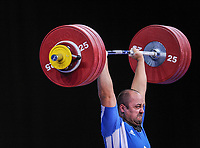 Ferenc GYURKOVICS (HUN) in the clean and jerk, The London Prepares Weightlifting Olympic Test Event, ExCel Arena, London, Englan
