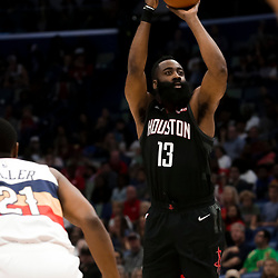 Mar 24, 2019; New Orleans, LA, USA; Houston Rockets guard James Harden (13) shoots against the New Orleans Pelicans during the first half at the Smoothie King Center. Mandatory Credit: Derick E. Hingle-USA TODAY Sports