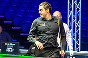 A smile from Ronnie O'Sullivan during the 2nd frame of the Quarter Final between Ronnie O'Sullivan vs Mark Selby at the 19.com Home Nations Scottish Open at the Emirates Arena, Glasgow, Scotland on 13 December 2019.