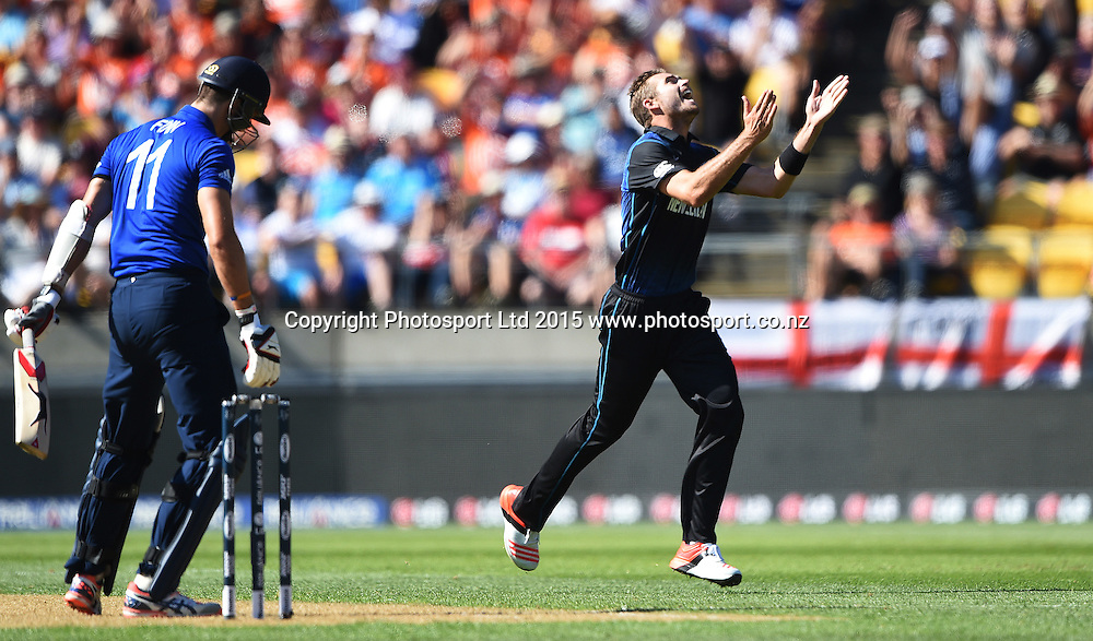 New Zealand bowler Tim Southee celebrates the wicket of Finn during the ICC Cricket World Cup match between New Zealand and England in Wellington, New Zealand. Friday 20 February 2015. Copyright Photo: Andrew Cornaga / www.Photosport.co.nz