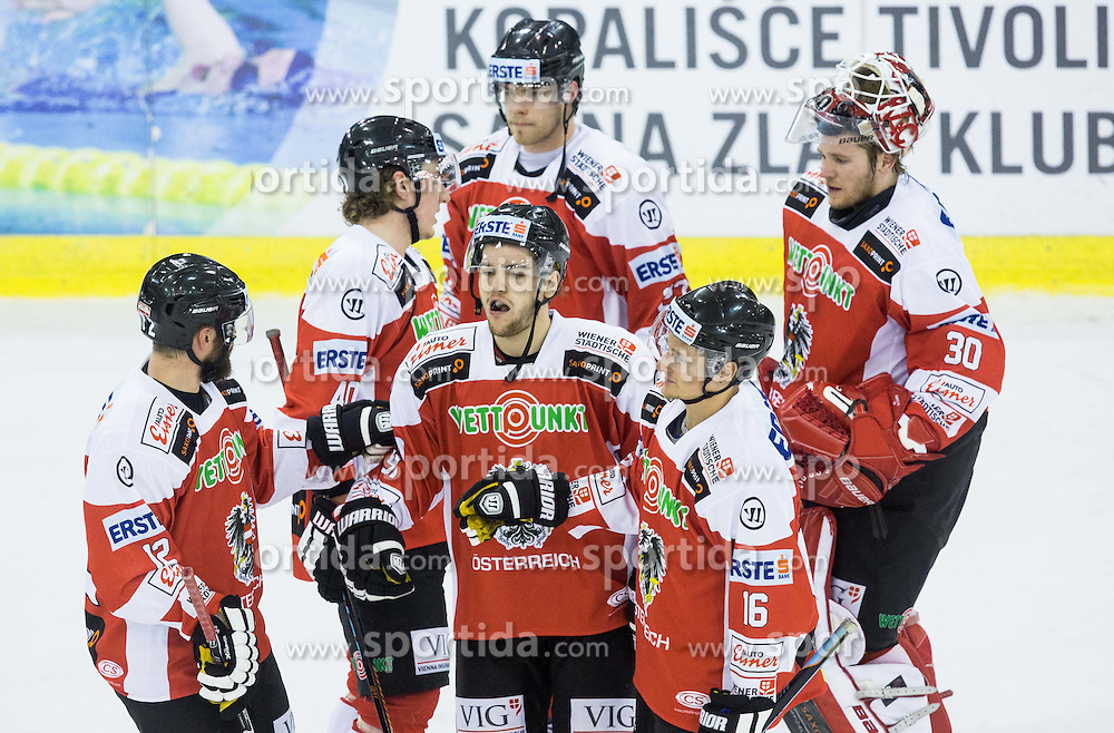 Players of Austria after the ice-hockey friendly match between National teams of Slovenia and Austria, on April 19, 2015 in Hala Tivoli, Ljubljana, Slovenia. Photo by Vid Ponikvar / Sportida