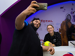 February 12, 2019 - Doha, QATAR - Caroline Wozniacki of Denmark visits the Total Booth at the 2019 Qatar Total Open WTA Premier tennis tournament (Credit Image: © AFP7 via ZUMA Wire)