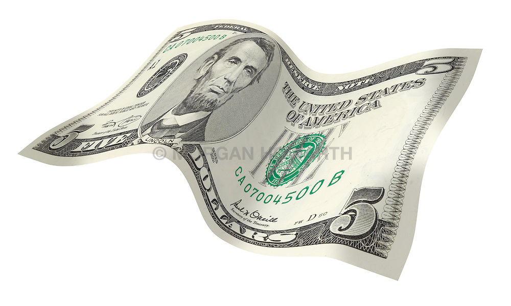 5 flat front 001 United States five dollar bill floating on air with a white background
