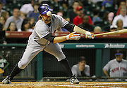 Aug 18, 2010; Houston, TX, USA; New York Mets pitcher R.A. Dickey (43) fouls the ball off his helmet against the Houston Astros during the third inning at Minute Maid Park.  Mandatory Credit: Thomas Campbell-US PRESSWIRE