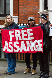 A small group of Julian Assange supporters gather outside the embassy of Ecuador where the Wikileaks founder has been holed up for nearly six years. His arrest warrant for breaching bail conditions has been upheld by Westminster Magistrates Court. London, February 13 2018.