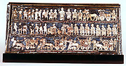Standard of Ur, the war side, from the Royal Cemetery at Ur c2500 BC. Lapis lazuli, mother-of-pearl, shell and coloured stone mosaic. Sumerian. British Museum