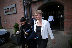 © Licensed to London News Pictures . 25/09/2016 . Liverpool , UK.  YVETTE COOPER leaves Peston on Sunday at The Titanic Hotel during a round of Sunday morning political interviews from the Docks in Liverpool,  on the first day of the Labour Party Conference . Photo credit : Joel Goodman/LNP