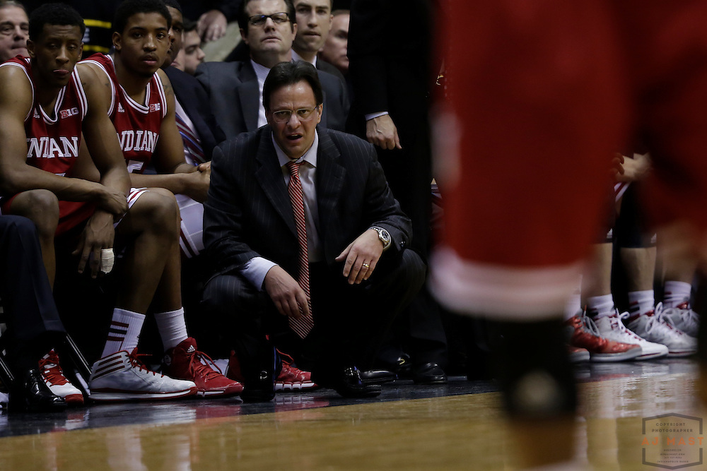 15 February 2014: Indiana head coach Tom Crean as the Indiana Hoosiers played the Purdue Boilermakers in a college basketball game in West Lafayette, Ind.