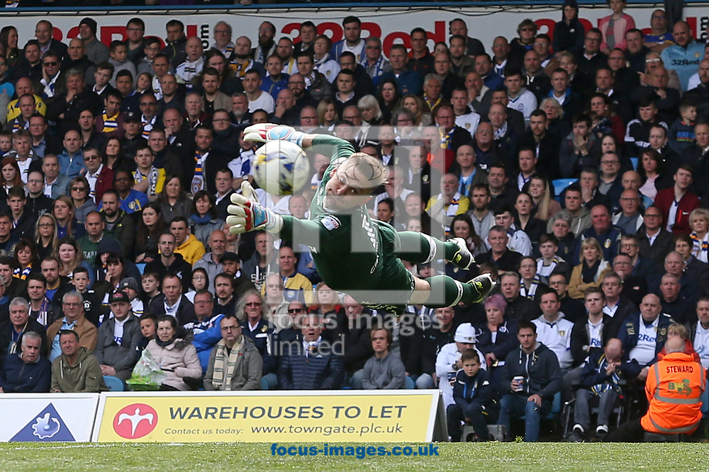 Rob Green of Leeds United dives to reach a shot on goal by Nelson Oliveira of Norwich during the Sky Bet Championship match at Elland Road, Leeds<br /> Picture by Paul Chesterton/Focus Images Ltd +44 7904 640267<br /> 29/04/2017