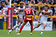 Bradford Bulls loose forward Ross Peltier (17) runs at Dewsbury Rams Dom Speakman (17) during the Kingstone Press Championship match between Dewsbury Rams and Bradford Bulls at the Tetley's Stadium, Dewsbury, United Kingdom on 4 June 2017. Photo by Simon Davies.