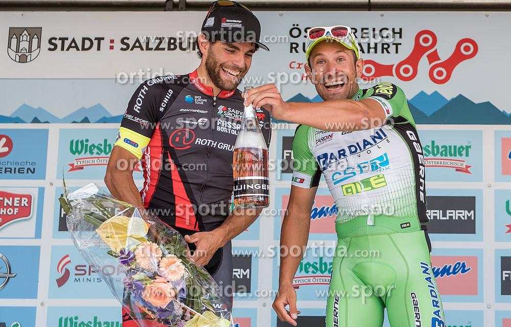 03.07.2016, XXX, AUT, Ö-Tour, Österreich Radrundfahrt, 1. Etappe, Innsbruck nach Salzburg, im Bild Andrea Pasqualon (ITA, Team Roth, 2. Platz), Nicola Ruffoni (ITA, Bardiani CSF, Sieger) // Andrea Pasqualon (ITA, Team Roth, 2. Platz), Nicola Ruffoni (ITA, Bardiani CSF, Sieger) during the Tour of Austria, 1st Stage from Innsbruck to Salzburg at XXX, Austria on 2016/07/03. EXPA Pictures © 2016, PhotoCredit: EXPA/ JFK
