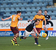 24th February 2018, Dens Park, Dundee, Scotland; Scottish Premier League football, Dundee versus Motherwell; Paul McGowan of Dundee goes past Carl McHugh of Motherwell