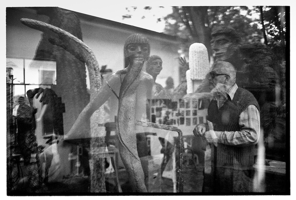 Sculptor Olbram Zoubek in between his works_1996