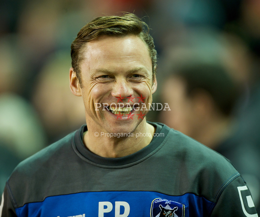 LIVERPOOL, ENGLAND - Friday, January 6, 2012: Oldham Athletic's manager Paul Dickov during the FA Cup 3rd Round match against Liverpool at Anfield. (Pic by David Rawcliffe/Propaganda)