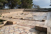 Israel, Coastal plains, Caesarea, The Palace of the ?Bird Mosaic? a 14.5 x 16m floor of a villa dating to the Byzantine period, 6-7th century CE. General view of the Villa