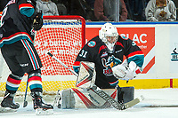 KELOWNA, CANADA - OCTOBER 4: Brodan Salmond #31 of the Kelowna Rockets makes a save against the Victoria Royals on October 4, 2017 at Prospera Place in Kelowna, British Columbia, Canada.  (Photo by Marissa Baecker/Shoot the Breeze)  *** Local Caption ***