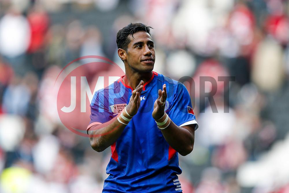 Samoa Winger Ken Pisi thanks his supporters after Japan win the match - Mandatory byline: Rogan Thomson/JMP - 07966 386802 - 03/10/2015 - RUGBY UNION - Stadium:mk - Milton Keynes, England - Samoa v Japan - Rugby World Cup 2015 Pool B.