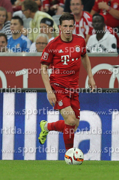 04.08.2015, Allianz Arena, Muenchen, GER, AUDI CUP, FC Bayern Muenchen vs AC Mailand, im Bild Pierre-Emile Hoejbjerg #34 (FC Bayern Muenchen) // during the 2015 AUDI Cup Match between FC Bayern Muenchen and AC Mailand at the Allianz Arena in Muenchen, Germany on 2015/08/04. EXPA Pictures &copy; 2015, PhotoCredit: EXPA/ Eibner-Pressefoto/ Kolbert<br /> <br /> *****ATTENTION - OUT of GER*****