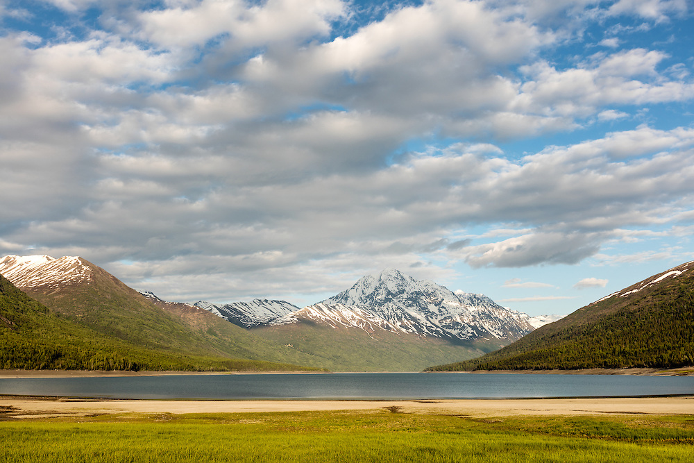 Eklutna Lake and Bold Peak in late evening in Chugach State Park in Southcentral Alaska. Spring.