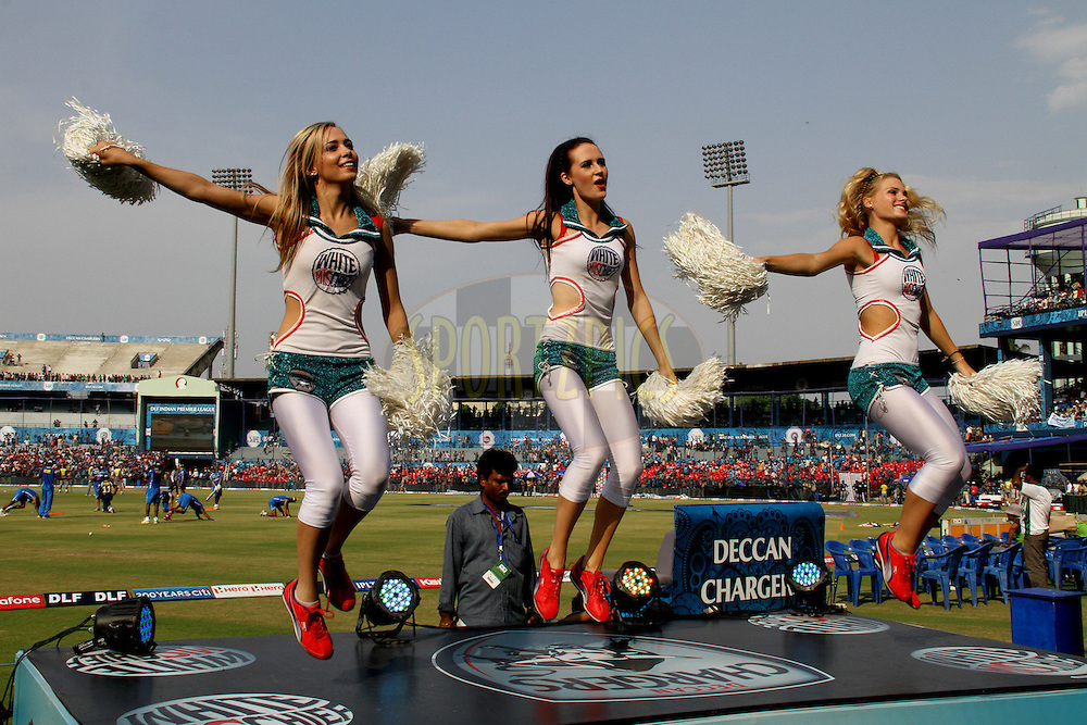 DCs cheer leaders performing during match 42 of the the Indian Premier League ( IPL) 2012  between The Deccan Chargers and the Pune Warriors India held at the Barabati Stadium, Cuttack on the 1st May 2012..Photo by: Prashant Bhoot/IPL/SPORTZPICS