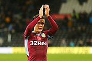Aston Villa midfielder Jack Grealish (10) celebrates after the final whistle during the EFL Sky Bet Championship match between Derby County and Aston Villa at the Pride Park, Derby, England on 10 November 2018.