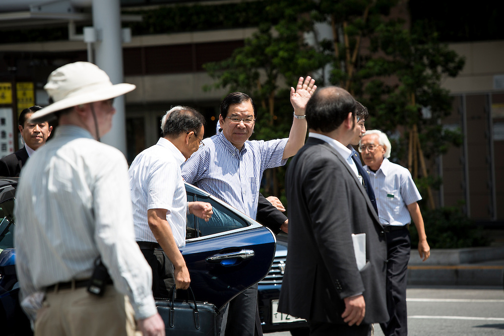 TOKYO, JAPAN - JULY 7 :  Kazuo Shii, Chairman of the of The Japanese Communist Party (JCP) arrives in venue to deliver a campaign speech for his party candidate Taku Yamazoe during the Upper House election campaign outside of Kichijōji Station, Tokyo, Japan on July 7, 2016. Japan's upper house election will be held on this coming Sunday July 10, 2016. (Photo by Richard Atrero de Guzman/NURPhoto)