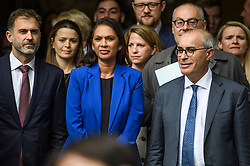 © Licensed to London News Pictures. 24/09/2019. London, UK. Businesswoman GINA MILLER (centre) and her lawyer LORD DAVID PANNICK QC (right) are seen leaving The Supreme Court in London following a ruling on an appeal against a judicial review of Boris Johnson's suspension of Parliament. The case has been brought by remain campaigner Gina Miller, with support from former British Prime Minister John Major. Photo credit: Ben Cawthra/LNP