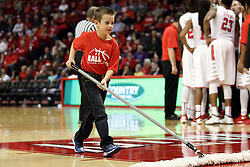 16 November 2015: A young groomer sweeps the lane. Illinois State Redbirds host the Morehead State Eagles at Redbird Arena in Normal Illinois (Photo by Alan Look)
