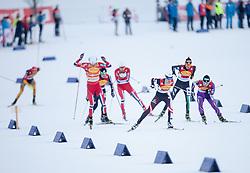 14.12.2013, Nordische Arena, Ramsau, AUT, FIS Nordische Kombination Weltcup, Langlauf Teamsprint, im Bild vl.nr Mikko Kokslien (NOR), Bryan Fletcher (USA), Haavard Klemetsen (NOR), Lukas Klapfer (AUT), Samuel Costa (ITA), Hideaki Nagai (JPN) // fl. tr. Mikko Kokslien (NOR), Bryan Fletcher (USA), Haavard Klemetsen (NOR), Lukas Klapfer (AUT), Samuel Costa (ITA), Hideaki Nagai (JPN) during Team Sprint Cross Country of FIS Nordic Combined <br /> World Cup, at the Nordic Arena in Ramsau, Austria on 2013/12/14. EXPA Pictures © 2013, EXPA/ JFK