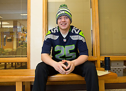 Ryne Wilmes '16, Seahawks Blue Friday at PLU on Friday, Jan. 30, 2015. (Photo/John Froschauer)
