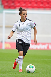 LLANELLI, WALES - Wednesday, August 28, 2013: Germany's Lina Magull in action against France during the Semi-Final match of the UEFA Women's Under-19 Championship Wales 2013 tournament at Parc y Scarlets. (Pic by David Rawcliffe/Propaganda)