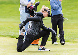 April 26, 2018 - San Francisco, CA, U.S. - SAN FRANCISCO, CA - APRIL 26: Jessica Korda of the United States stretches before approaching the 3rd green during the first round of the 2018 LPGA MEDIHEAL Championship on April 26, 2018 at the Lake Merced Golf Club in San Francisco, CA. (Photo by Douglas Stringer/Icon Sportswire) (Credit Image: © Douglas Stringer/Icon SMI via ZUMA Press)