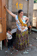 Rome Aprily 4 2008.Rom's camp Casilino 900.Mother is child roma bosnian