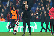 Manchester United interim Manager Ole Gunnar Solskjaer applauds the fans after victory during the Premier League match between Crystal Palace and Manchester United at Selhurst Park, London, England on 27 February 2019.