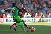 AFC Bournemouth's midfielder Matt Ritchie(right) moves in to tackle Sunderland AFC midfielder Jeremain Lens during the Barclays Premier League match between Bournemouth and Sunderland at the Goldsands Stadium, Bournemouth, England on 19 September 2015. Photo by Mark Davies.