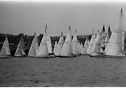 Round Ireland Yacht Race.  (R81)..1988..18.06.1988..06.18.1988..18th June 1988..The Round Ireland Yacht Race set sail from Wicklow today. Yachts from all over Europe took part in the start as the race got underway. The race is sponsored by Cork Dry Gin...Picture shows some of the yachts at the start of the Round Ireland Race. They include, Canterbury K5755; Corwyny Cymru K2666; Marling Barracuda K3003T; Simply Red K4100; Blue Oyster IR3852; Firanjo III K2152; Penner K8291; Europlex Deja Blue K4480 and Woodchester Challenge K150...