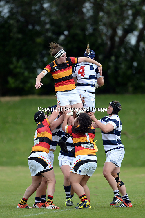 Auckland Storm's Eloise Blackwell steals the ball from Waikato's Racqual Anderson during the Women's Rugby NPC Semi Final, Auckland Storm v Waikato. Auckland, New Zealand on Saturday 10 October 2015. Copyright Photo: Raghavan Venugopal / www.photosport.nz