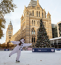 © Licensed to London News Pictures. 20/11/2019. London, UK. Raymond Brigg's The Snowman, skating at the Natural History Museum Ice Rink to celebrate 22 years at the Peacock Theatre. The Festive favourite, based on the the book and film, has entertained the young and old with its enchanting stage adaptation, magical set, dancing penguins, snow princess and live music. Photo credit: Alex Lentati/LNP