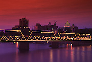Walnut Street Walking Bridge, Harrisburg Skyline, Night Lights, Capitol, Harrisburg, Pennsylvania