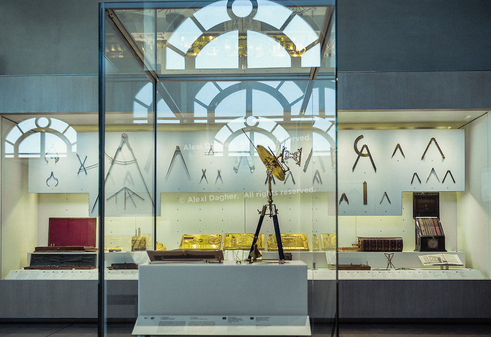 Scientific instruments on display in room VI - The Science of Warfare at the Museo Galileo - Florence, Italy 2014