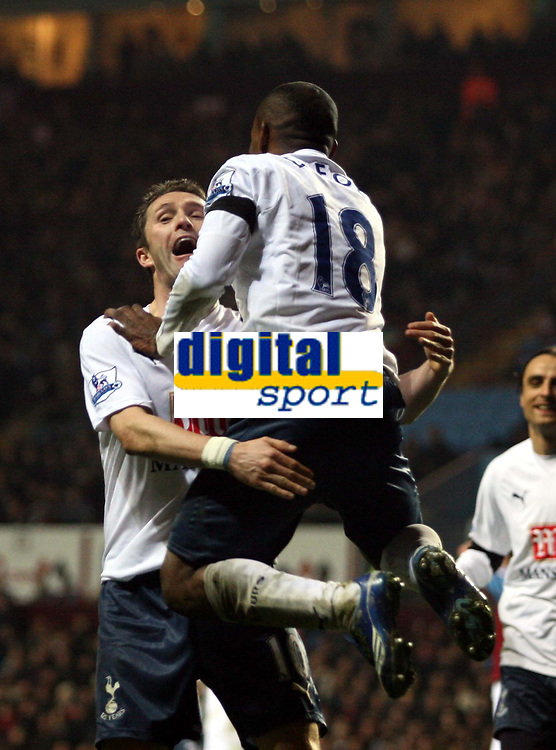 Photo: Mark Stephenson/Sportsbeat Images.<br /> Aston Villa v Tottenham Hotspur. The FA Barclays Premiership. 01/01/2008.Tottenham's Jarmain Defoe (no 18 ) celebrates his goal with team mate Robbie Keane