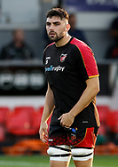 Dragons' Cory Hill during the pre match warm up<br /> <br /> Photographer Simon King/Replay Images<br /> <br /> Guinness PRO14 Round 1 - Dragons v Benetton Treviso - Saturday 1st September 2018 - Rodney Parade - Newport<br /> <br /> World Copyright &copy; Replay Images . All rights reserved. info@replayimages.co.uk - http://replayimages.co.uk