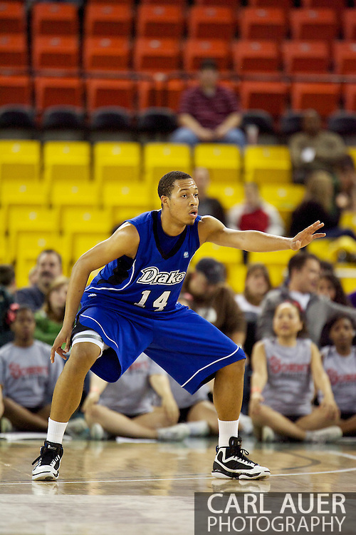 November 26th, 2010:  Anchorage, Alaska - Drake Bulldog freshman forward Jeremy Jeffers (14) in the Bulldog's loss to St. Johns at the Great Alaska Shootout.  The Red Storm defense held Drake to a tournament low score as St. Johns advanced to the final game 82-39.