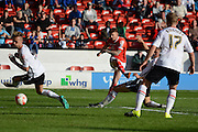 Walsall midfielder Jordan Cook has a shot during the Sky Bet League 1 match between Walsall and Crewe Alexandra at the Banks's Stadium, Walsall, England on 26 September 2015. Photo by Alan Franklin.