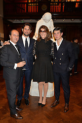 Left to right, PROSPER ASSOULINE, SEBASTIEN ASSOULINE,  MARTINE ASSOULINE and ALEX ASSOULINE at a party to celebrate the launch of the Maison Assouline Flagship Store at 196a Piccadilly, London on 28th October 2014.  During the evening Valentino signed copies of his new book - At The Emperor's Table.