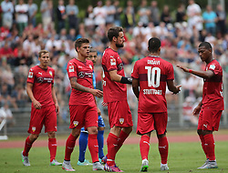 26.07.2015, Bodenseestadion, Konstanz, GER, Testspiel, VfB Stuttgart vs FC Winterthur, im Bild Freude bei Daniel Didavi (VfB Stuttgart) mitte, Christian Gentner (VfB Stuttgart) links und Carlos Gruezo (VfB Stuttgart) rechts und dem rest der Mannschaft nach dem Treffer zum 2 zu 0 // during the International Friendly Football Match between VfB Stuttgart and FC Winterthur at the Bodenseestadion in Konstanz, Germany on 2015/07/26. EXPA Pictures © 2015, PhotoCredit: EXPA/ Eibner-Pressefoto/ Fudisch<br /> <br /> *****ATTENTION - OUT of GER*****