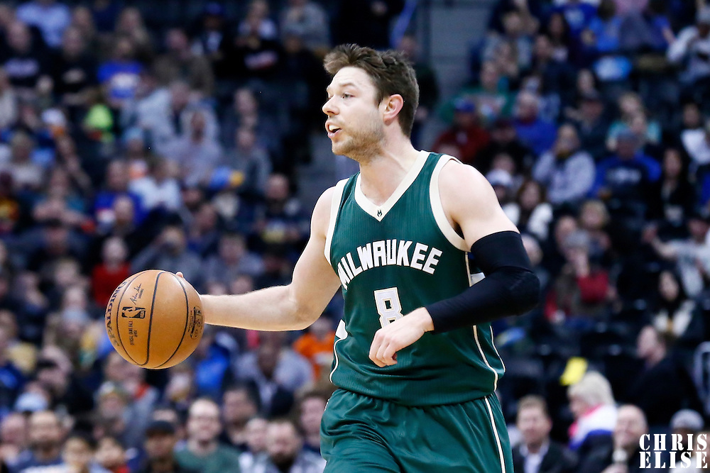 03 February 2016: Milwaukee Bucks guard Matthew Dellavedova (8) brings the ball up court during the Denver Nuggets 121-117 victory over the Milwaukee Bucks, at the Pepsi Center, Denver, Colorado, USA.