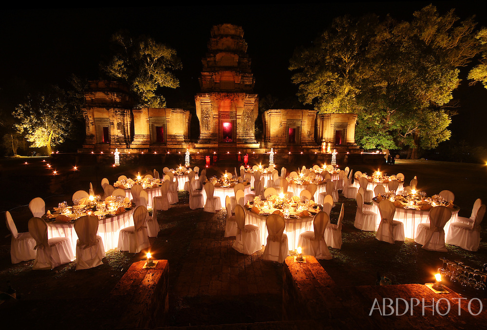 corporate dinner and dancers at a temple near siem reap cambodia
