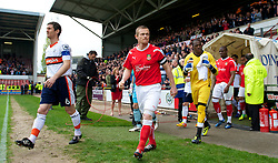 WREXHAM, WALES - Monday, May 7, 2012: Wrexham's Dean Keates walks out to face Luton Town during the Football Conference Premier Division Promotion Play-Off 2nd Leg at the Racecourse Ground. (Pic by David Rawcliffe/Propaganda)