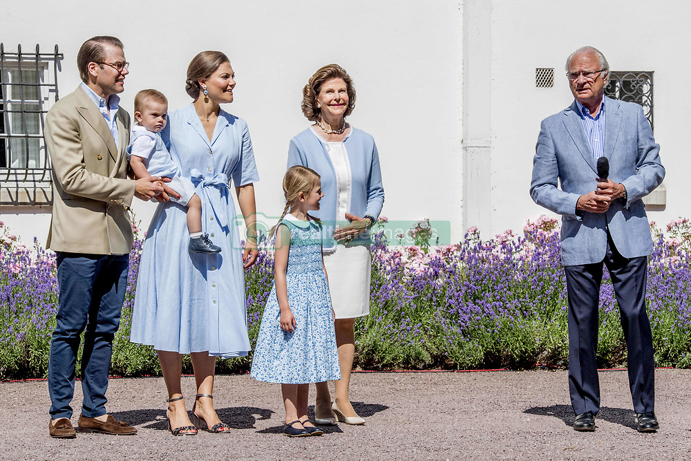 King Carl Gustaf, Quen Silvia, Crown Princess Victoria and husband Prince Daniel with their children Princess Estelle, Prince Oscar during the traditionally celebration of Crown Princess Victoria's birthday at the royal family's summer residence, Solliden Palace in Borgholm, Öland, Sweden, on July 15, 2017, a day later Stockholm celebration. Photo by Robin Utrecht/ABACAPRESS.COM